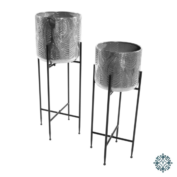 AZURE SET OF TWO LEAF PLANTER WITH STAND SILVER