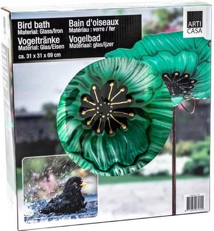 GLASS BIRD BATH 3 ASSTD