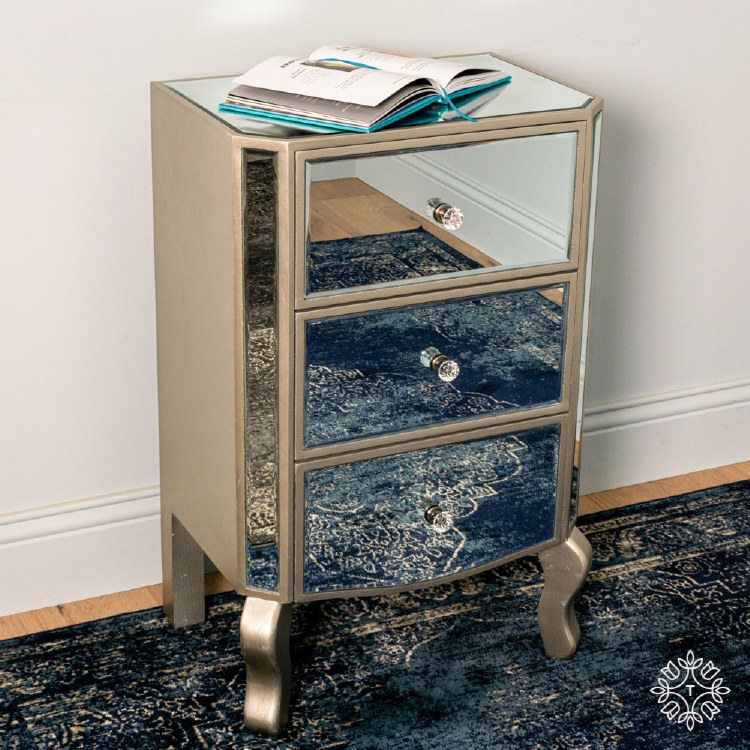 REFLECTION 3 DRAWER LOCKER WITH CURVED LEGS