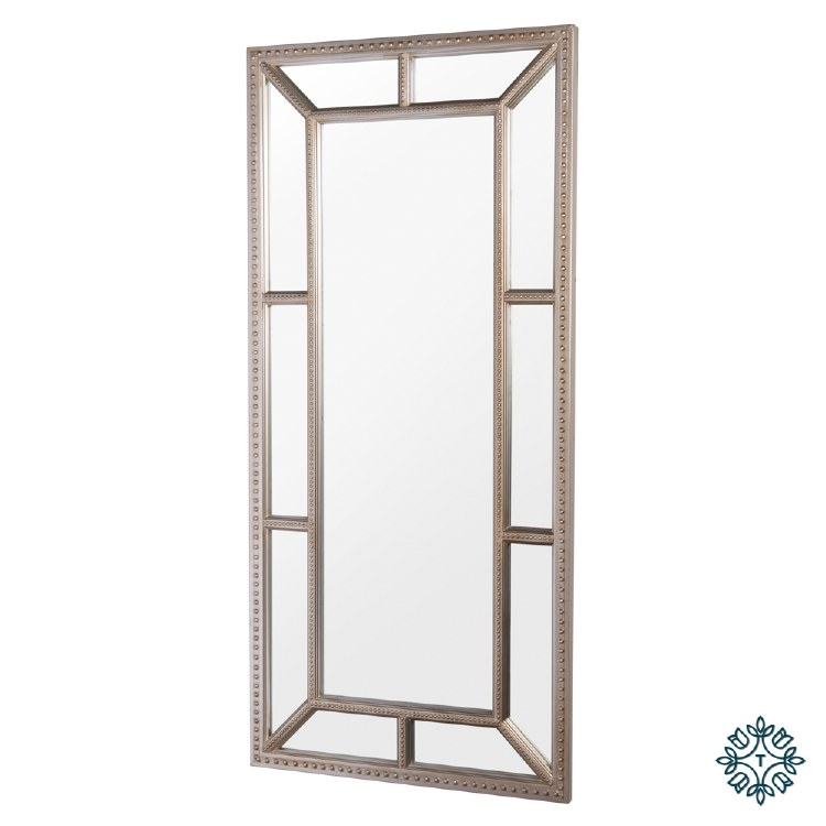REMY BEADED LEANER MIRROR ANTIQUE CHAMP