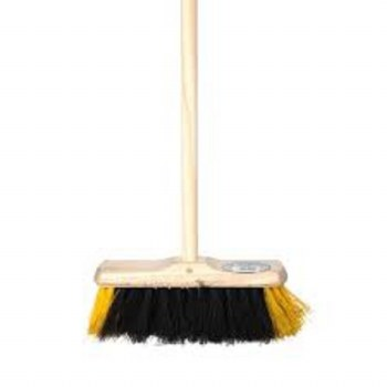 """11"""" BLACK & WHITE SWEEP BRUSH WITH HANDLE"""
