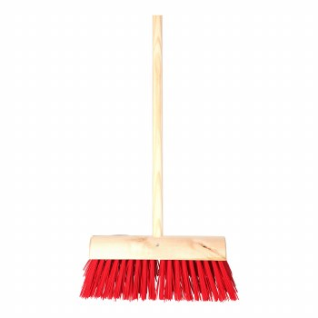 """13"""" RED PVC YARD BRUSH WITH HANDLE"""