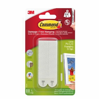 3M COMMAND LARGE PICTURE HANGING STRIPS WHITE 4PK
