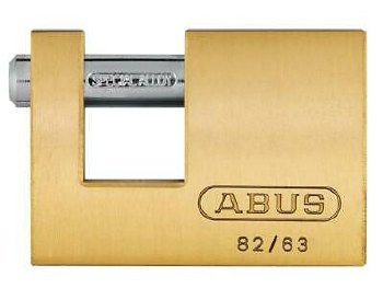 ABUS 82/63MM MONOBLOCK BRASS SHUTTER PADLOCK