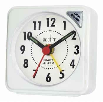 ACCTIM INGOT QUARTZ ALARM CLOCK WHITE