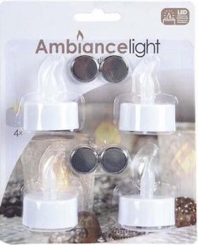 AMBIANCE 4PK TEALIGHTS LED
