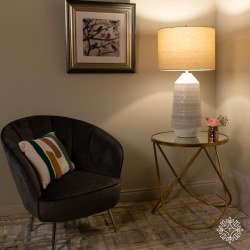 EDEN CERAMIC TABLE LAMP BEIGE LINEN SHADE 82cm