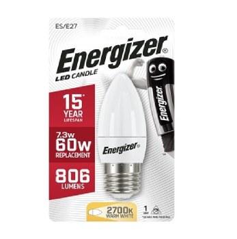ENERGIZER 7.3W (60W) LED E27 CANDLE WARM LAMP