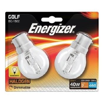 ENERGIZER ECO HALOGEN 28W (40W) BC CLEAR GOLF BALL LAMP CARD 2