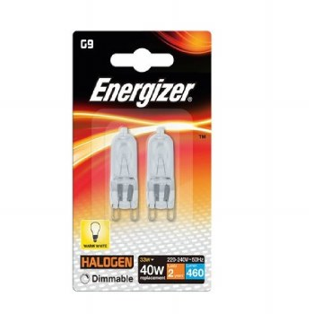 ENERGIZER ECO HALOGEN 33W (40W) G9 CLEAR CAPSULE LAMP CARD2