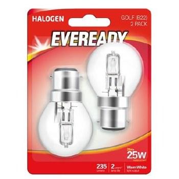 EVEREADY 20W (25W) B22 HALOGEN GOLF BALL LAMP
