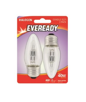EVEREADY 33W (40W) E27 HALOGEN CANDLE LAMP