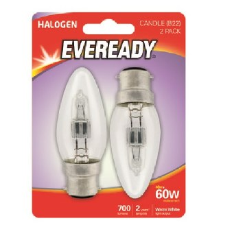 EVEREADY 46W (60W) B22 HALOGEN CANDLE LAMP