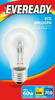 EVEREADY 48W (60W) E27 HALOGEN GLS LAMP