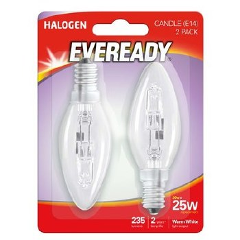 EVEREADY 20W (25W) E14 HALOGEN CANDLE LAMP