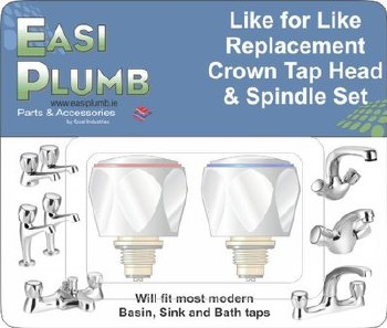 Easi Plumb Pair of Replacement Crown Tap Heads & Spindles only