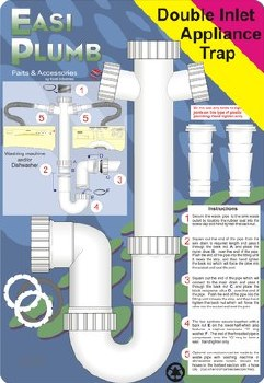 """Easi Plumb 1 1/2"""" x 3"""" Seal Appliance Trap Double Inlet"""