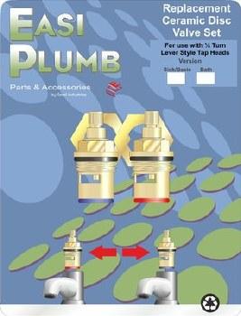 """Easi Plumb Pair 1/2"""" Replacement Ceramic Disc Valves including Bushings"""