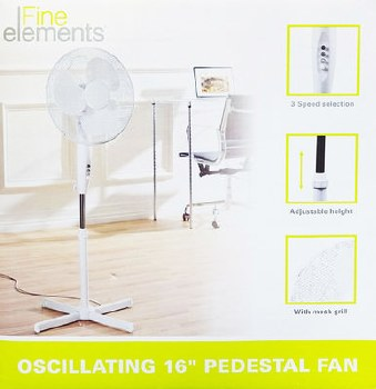 """FINE ELEMENTS 16"""" OSCILLATING FAN ON STAND"""