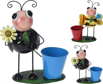 FLOWER POT WITH INSECT ORNAMENT
