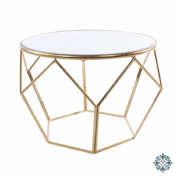 GEOMETRIC END TABLE MIRRORED TOP GOLD