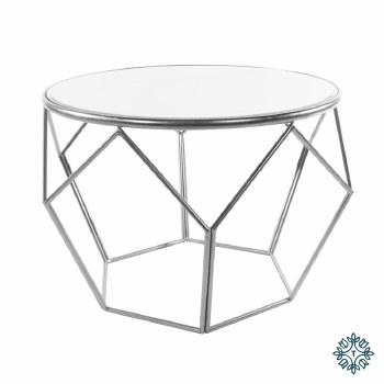 GEOMETRIC END TABLE MIRRORED TOP SILVER