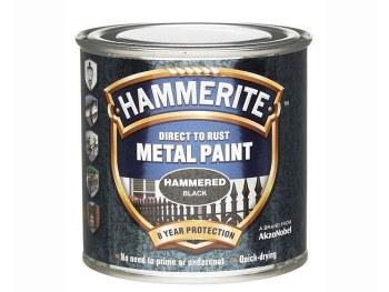 HAMMERITE DIRECT TO RUST METAL PAINT - HAMMERED BLACK 250ML