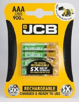 JCB RECHARGEABLE BATTERY AAA 900 MA