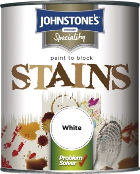 JOHNSTONES PROBLEM SOLVER PAINT TO BLOCK STAINS WHITE 750ML