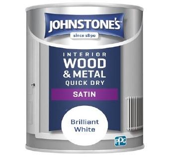 JOHNSTONES INTERIOR WOOD & METAL QUICK DRY SATIN 1.25 BRILLIANT WHITE