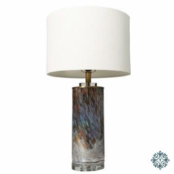 LUNA GLASS TABLE LAMP WHITE LINEN SHADE 82CM