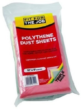 FIT FOR THE JOB 3PK POLY DUST SHEETS 12FTX9FT