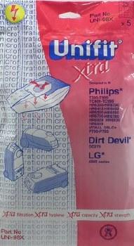 UNIFIT XTRA VACUUM BAGS FOR PHILIPS, DIRT DEVIL & LG - UNI-98