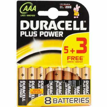 DURACELL PLUS BATTERY SIZE AAA CARD 8