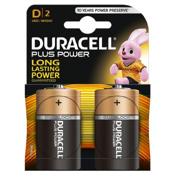 DURACELL PLUS BATTERY SIZE D CARD 2 PACK