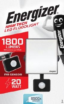ENERGIZER 20W LED FLOODLIGHT WITH PIR 1800 LUMENS