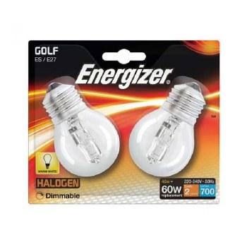ENERGIZER ECO HALOGEN 28W (40W) E27 CLEAR GOLF BALL LAMP CARD2