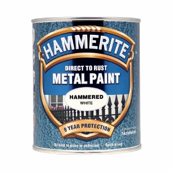 HAMMERITE DIRECT TO RUST METAL PAINT - HAMMERED WHITE 250ML