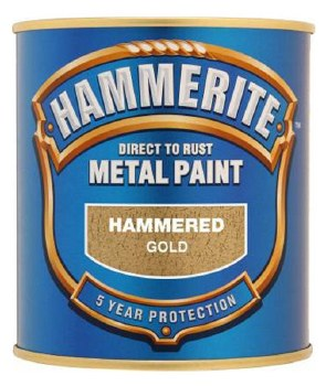 HAMMERITE DIRECT TO RUST METAL PAINT- HAMMERED GOLD 250ML