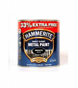 HAMMERITE DIRECT TO RUST METAL PAINT - SMOOTH BLACK 750ML + 33%