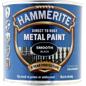 HAMMERITE DIRECT TO RUST METAL PAINT - SMOOTH BLACK 250ML