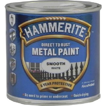 HAMMERITE DIRECT TO RUST METAL PAINT - SMOOTH WHITE 750ML