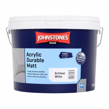 JOHNSTONES ACRYLIC DURABLE MATT BRILLIANT WHITE 10L