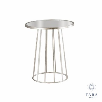 TRINITY SIDE TABLE WITH MIRROR TOP 55CM SILVER