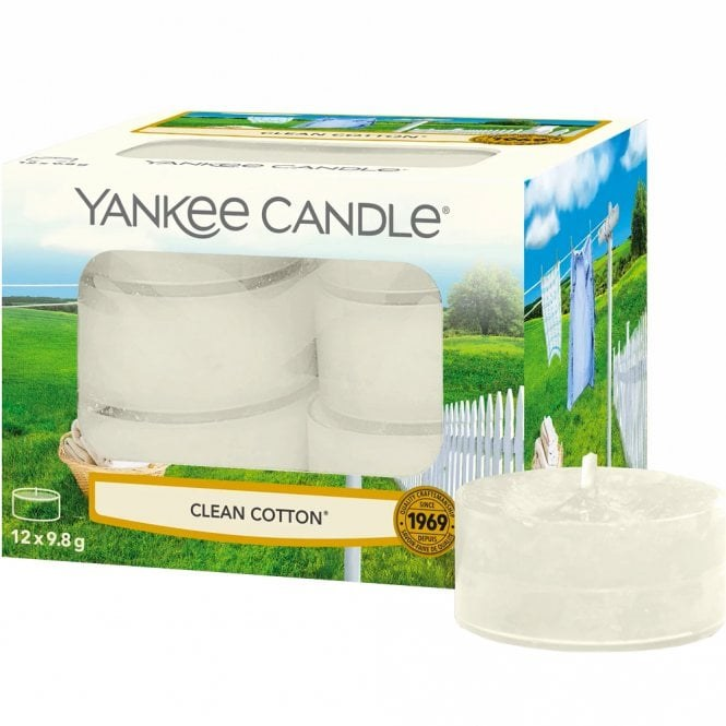 YANKEE CANDLE CLEAN COTTON TEA LIGHTS (PACK OF 12)