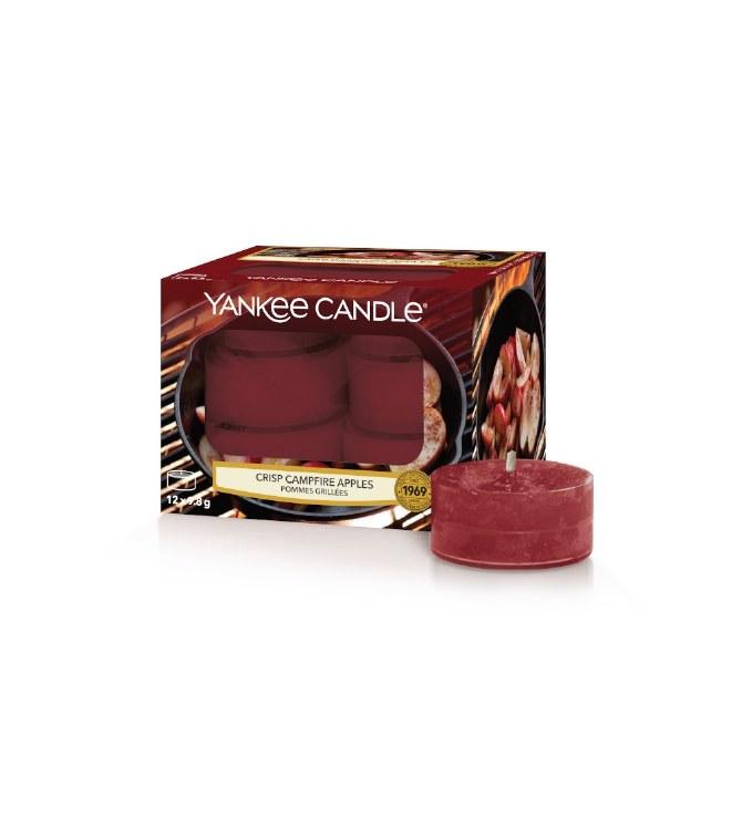 YANKEE CANDLE CRISP CAMPFIRE APPLE TEALIGHTS - BOX OF 12
