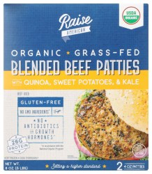 Blended Beef Patties w/ Quinoa, Sweet Potatoes & Kale, Organic, Grass Fed