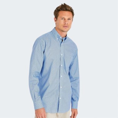 Cotton Shirt in Blue Bow Pattern