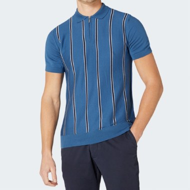 Knitted Cotton Stripe Polo