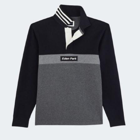 Contrast Stripe Button Sweater